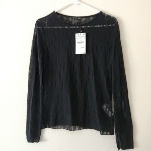 NWT Zara Black Sheer Long Sleeve Top